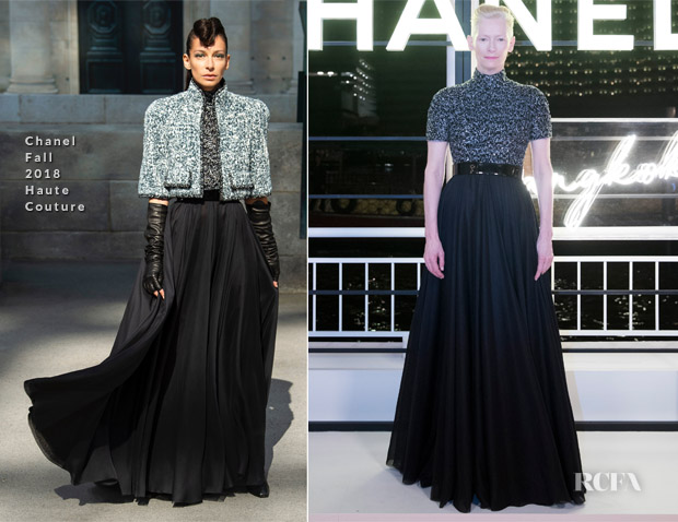 Tilda Swinton In Chanel Haute Couture - Chanel Cruise 2019 Replica Show After-Party