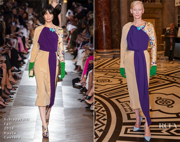 Tilda Swinton In Schiaparelli Haute Couture  - Wes Anderson's Exhibition Opening