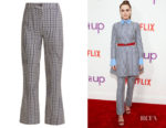 Zoey Deutch's Valentino Optical-Print Trousers