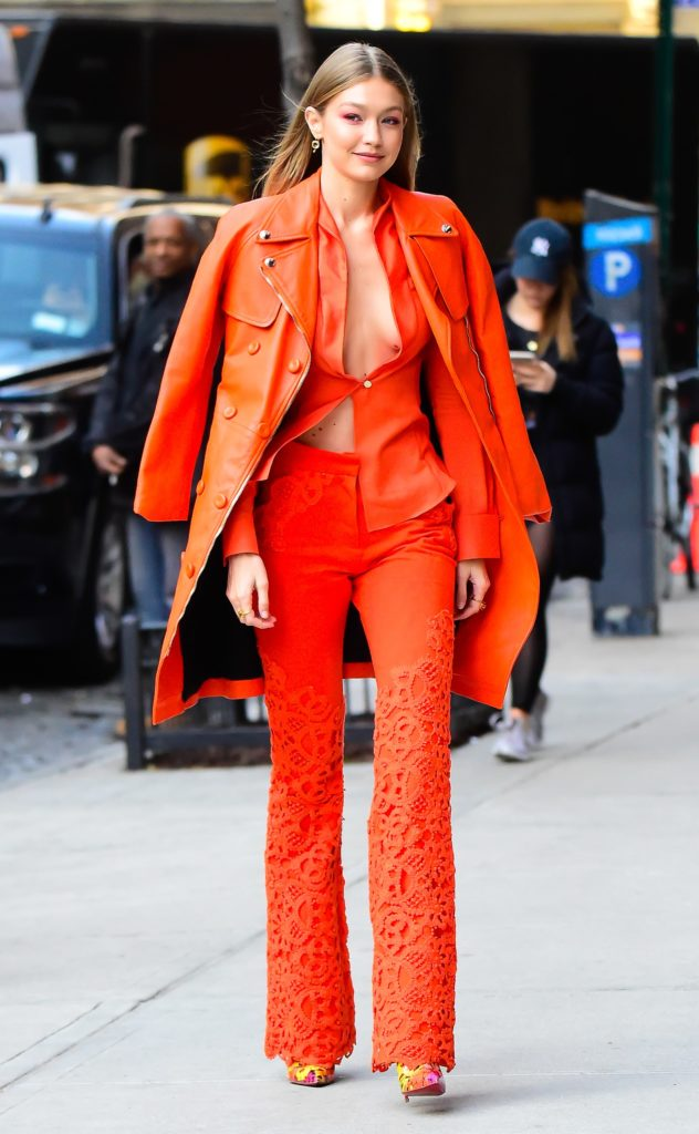 Gigi Hadid In Ronald Van Der Kemp Amp Moschino Out In New