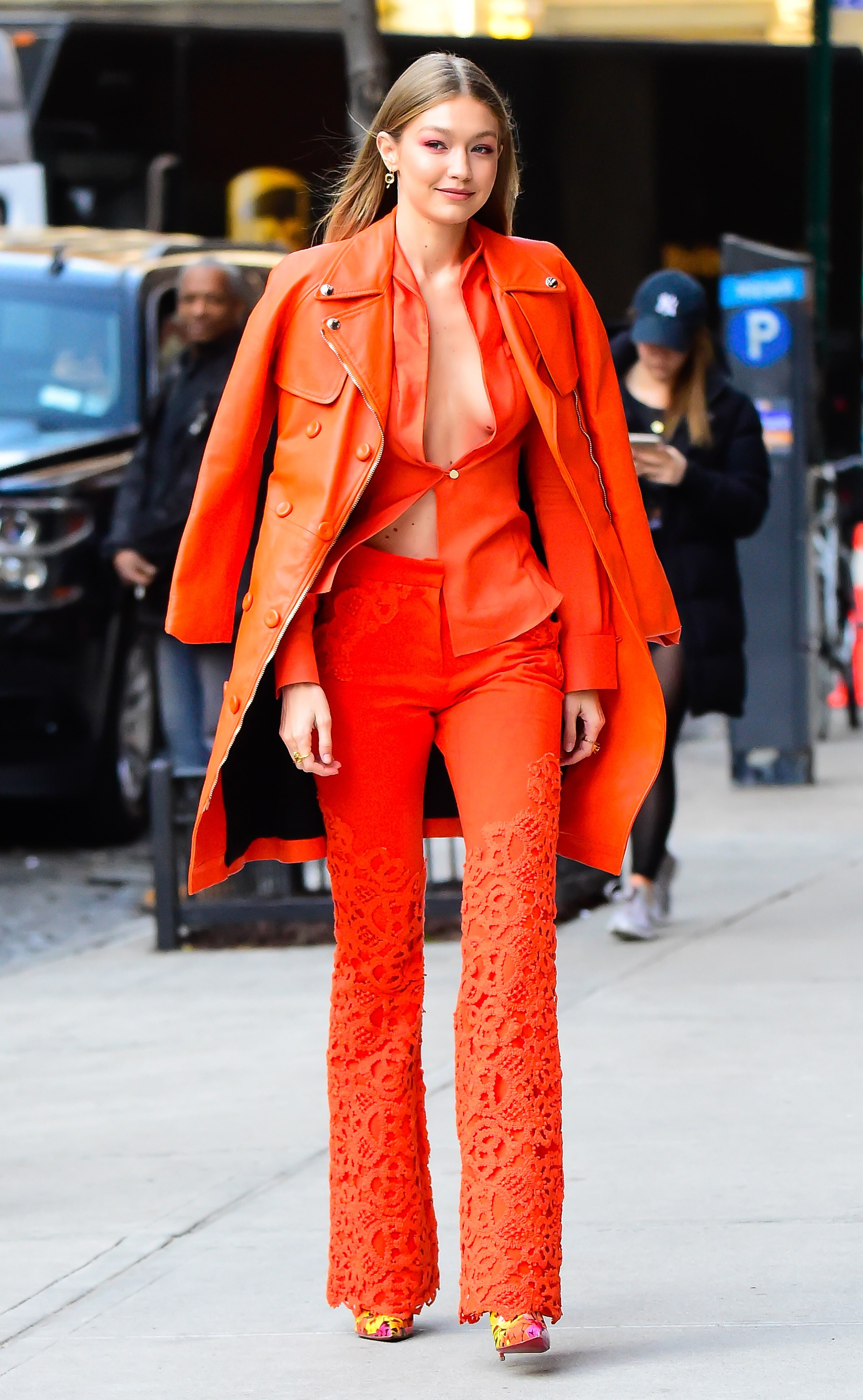 Gigi Hadid In Ronald van der Kemp & Moschino - Out In New York City