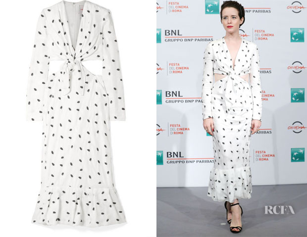 Fashion Blogger Catherine Kallon features Claire Foy's Carolina Herrera Cutout Jacquard Dress