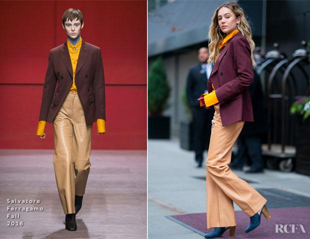 Fashion Blogger Catherine Kallon feature Delilah Belle Hamlin In Salvatore Ferragamo - Out In New York City