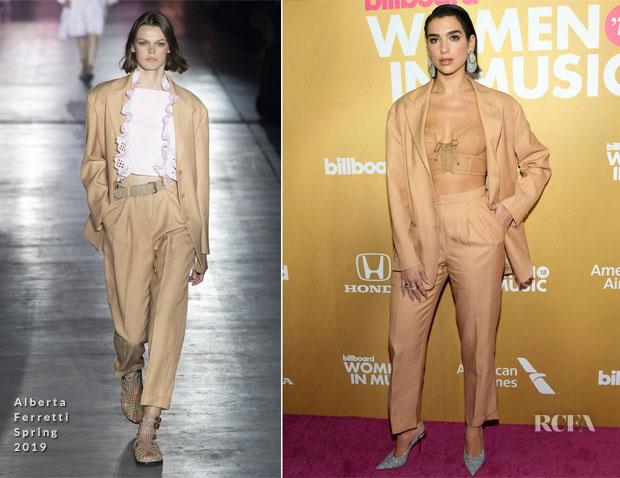Fashion Blogger Catherine Kallon feature the Dua Lipa In Alberta Ferretti - Billboard Women In Music 2018