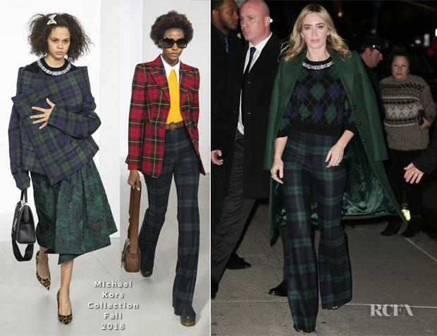 Fashion Blogger Catherine Kallon features Emily Blunt In Michael Kors Collection - 'Mary Poppins Returns' The Late Show