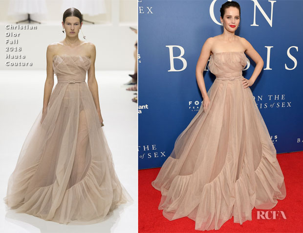Fashion Blogger Catherine Kallon features Felicity Jones In Christian Dior Haute Couture - 'On The Basis Of Sex' New York City Screening