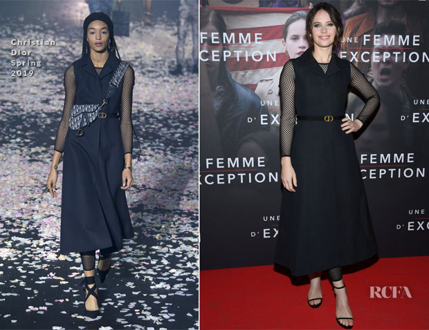 Fashion Blogger Catherine Kallon feature the Felicity Jones In Christian Dior - 'On The Basis of Sex' Paris Premiere