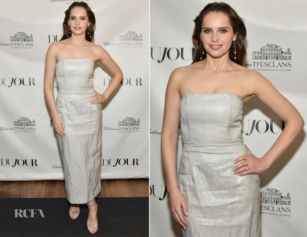 Fashion Blogger Catherine Kallon features Felicity Jones In Gabriela Hearst - DuJour Cover Party