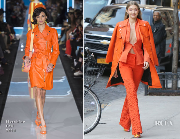 Fashion Blogger Catherine Kallon feature Gigi Hadid In Ronald van der Kemp & Moschino - Out In New York City