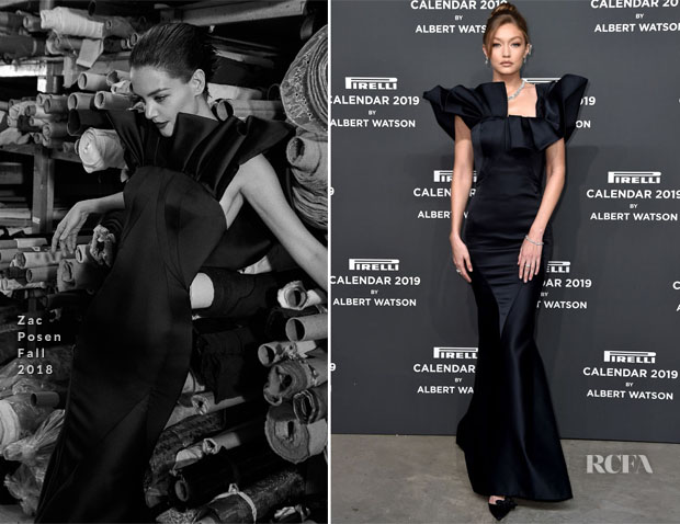 Fashion Blogger Catherine Kallon feature the Gigi Hadid In Zac Posen - 2019 Pirelli Calendar Launch Gala