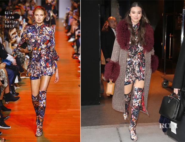 Fashion Blogger Catherine Kallon Features Hailee Steinfeld's 'Bumblebee' Promo Tour Elie Saab Spring 2019