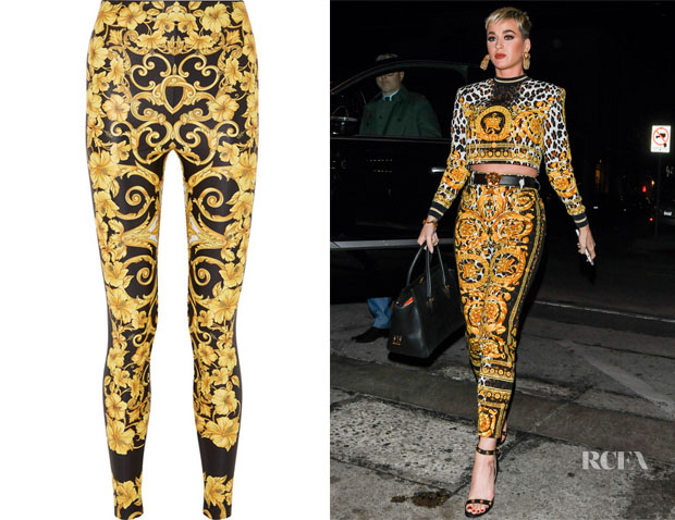 Fashion Blogger Catherine Kallon feature the Katy Perry's Versace Printed Stretch-Jersey Leggings
