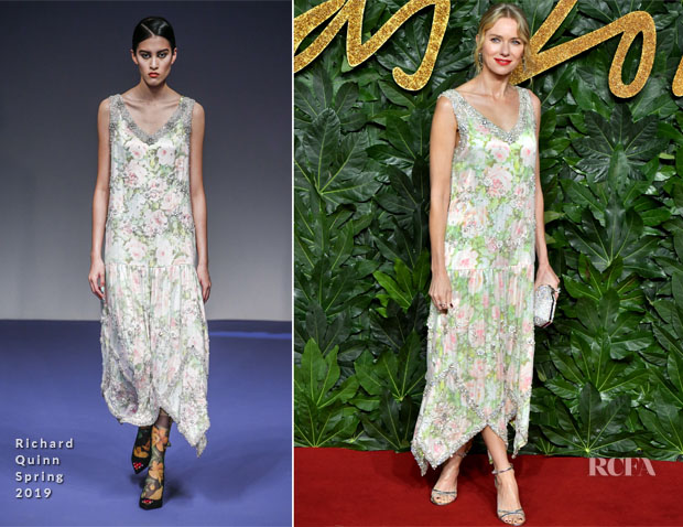 Fashion Blogger Catherine Kallon feature Naomi Watts In Richard Quinn - The Fashion Awards 2018