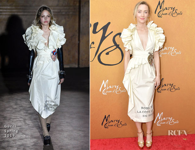 Fashion Blogger Catherine Kallon feature the Saoirse Ronan In Gucci - 'Mary Queen Of Scots' New York Premiere