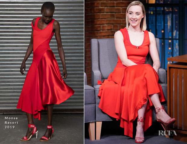 Fashion Blogger Catherine Kallon features Saoirse Ronan In Monse - Late Night with Seth Meyers