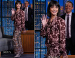 Fashion Blogger Catherine Kallon feature Vanessa Hudgens In Giambattista Valli - Late Night with Seth Meyers