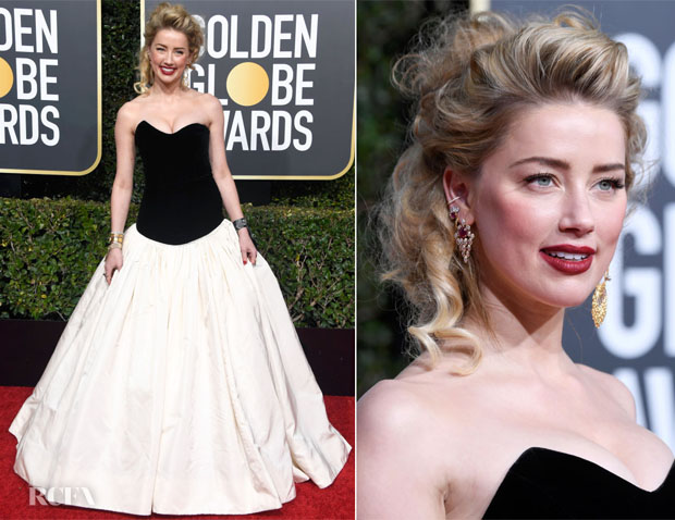 Fashion Blogger Catherine Kallon features Amber Heard In Monique Lhuillier - 2019 Golden Globe Awards