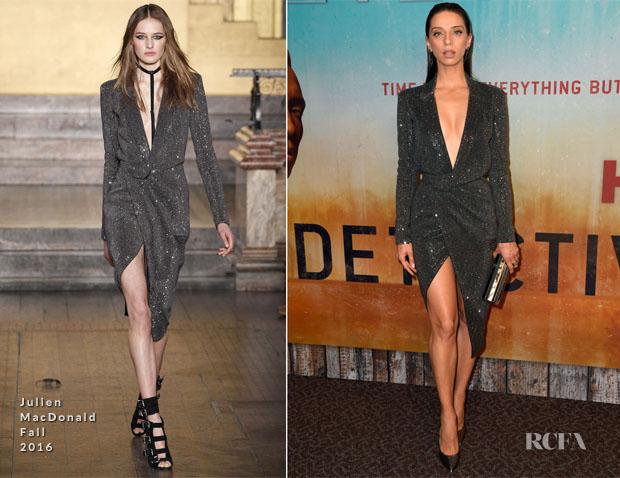 Fashion Blogger Catherine Kallon features Angela Sarafyan In Julien Macdonald - Premiere Of HBO's 'True Detective' Season 3