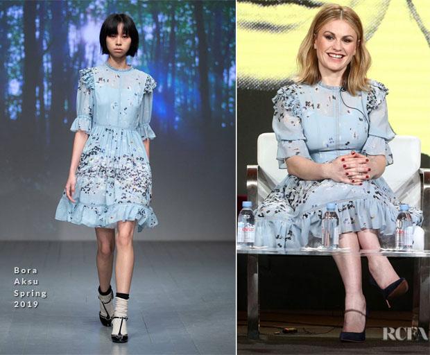 Fashion Blogger Catherine Kallon Features Anna Paquin In Bora Aksu - 2019 Winter TCA Tour