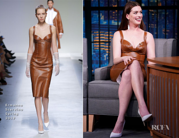 Fashion Blogger Catherine Kallon features Anne Hathaway In Ermanno Scervino - Late Night with Seth Meyers