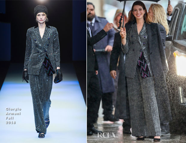 Fashion Blogger Catherine Kallon features Anne Hathaway In Giorgio Armani - Jimmy Kimmel Live!