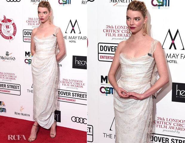 Fashion Blogger Catherine Kallon features Anya Taylor-Joy In Vivienne Westwood - 2019 London Critics' Circle Choice Awards
