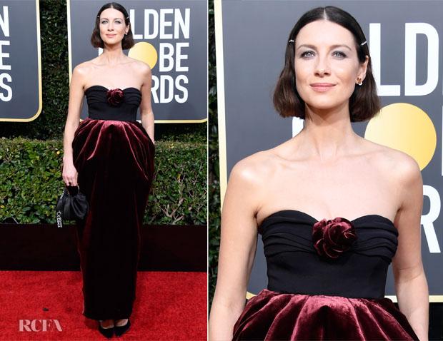 Fashion Blogger Catherine Kallon feature Caitriona Balfe In Moschino - 2019 Golden Globe Awards