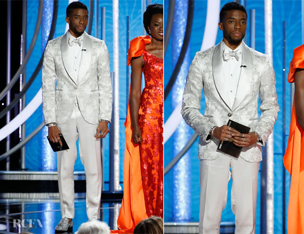 Fashion Blogger Catherine Kallon features Chadwick Boseman In Atelier Versace - 2019 Golden Globe Awards