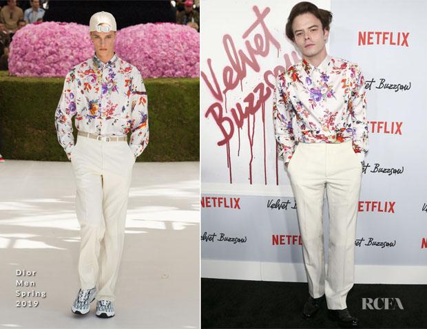 Charlie Heaton In Dior Men Velvet Buzzsaw La Premiere