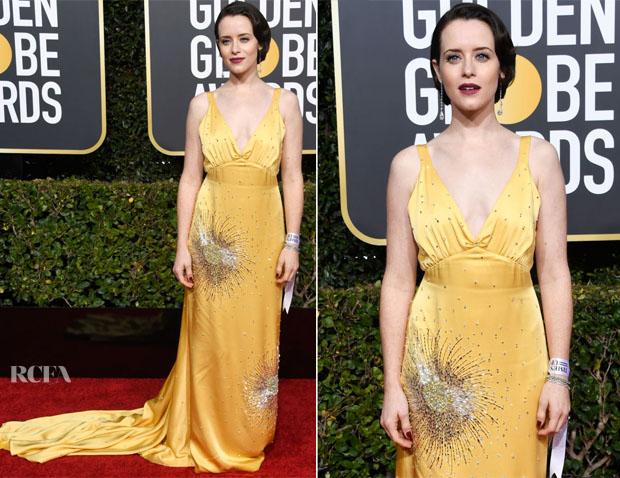 Fashion Blogger Catherine Kallon features Claire Foy In Miu Miu - 2019 Golden Globe Awards