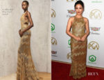 Fashion Blogger Catherine Kallon features Constance Wu In J. Mendel - 2019 Producers Guild Awards