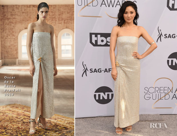 Fashion Blogger Catherine Kallon features Constance Wu In Oscar de la Renta - 2019 SAG Awards