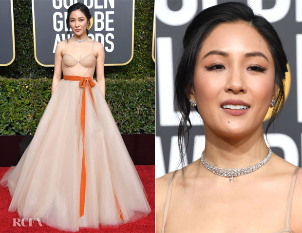 Fashion blogger Catherine Kallon features Constance Wu In Vera Wang - 2019 Golden Globe Awards