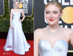 Fashion Blogger Catherine Kallon features Dakota Fanning In Armani Prive - 2019 Golden Globe Awards