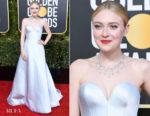 Fashion Blogger Catherine Kallon features Dakota Fanning In Armani Prive - 2019 Golden Globe Awards