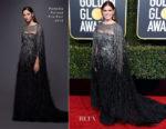 Fashion Blogger Catherine Kallon features Debra Messing In Pamella Roland - 2019 Golden Globe Awards
