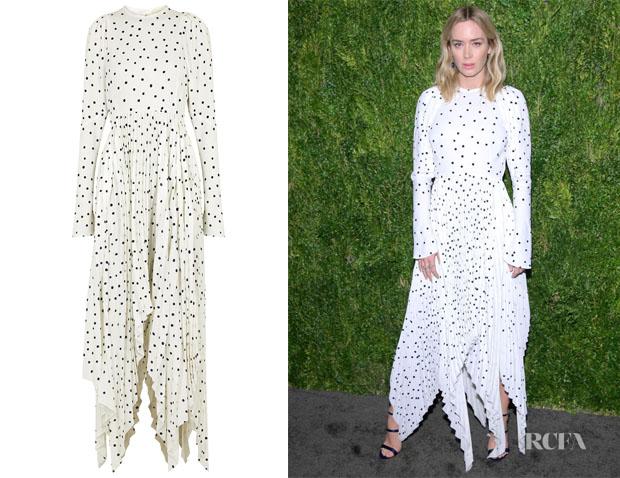 Emily Blunt's Khaite Greta White Polka-Dot Dress