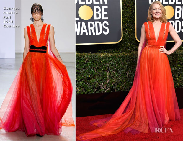 Fashion Blogger Catherine Kallon features Patricia Clarkson In Georges Chakra Couture - 2019 Golden Globe Awards
