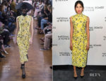 Fashion Blogger Catherine Kallon features Gemma Chan In Erdem - National Board Of Review Annual Awards Gala