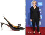 Glenn Close's Christian Louboutin Yasling 70 Slingback Satin Pumps