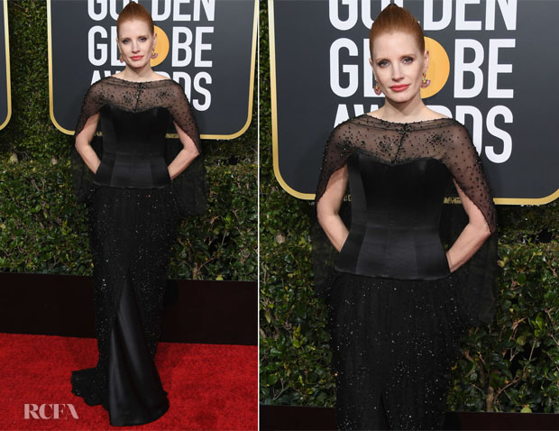 Fashion Blogger Catherine Kallon features Jessica Chastain In Burberry - 2019 Golden Globe Awards