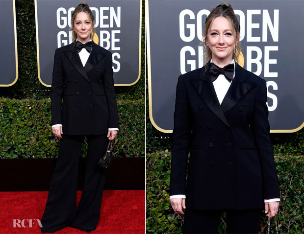 Fashion Blogger Catherine Kallon features Judy Greer In Alberta Ferretti - 2019 Golden Globe Awards