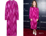 Julianne Moore's Givenchy Plissé-Satin Midi Dress