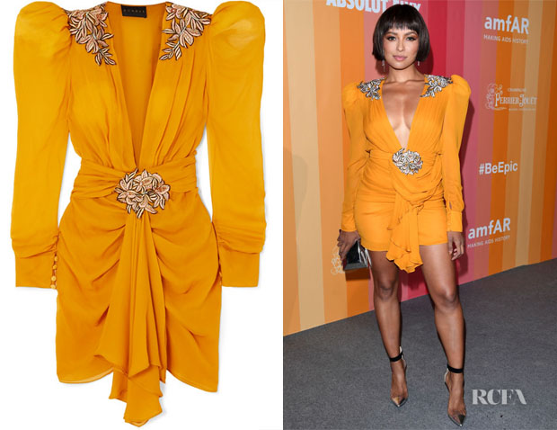 Kat Graham's Dundas Embroidered Chiffon Mini Dress