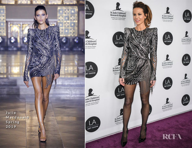 Fashion Blogger Catherine Kallon features Kate Beckinsale In Julien Macdonald - LA Art Show Opening Gala