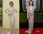 Fashion Blogger Catherine Kallon features Keri Russell In Monique Lhuillier - 2019 Golden Globe Awards