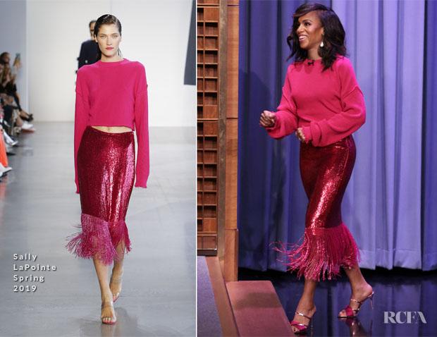 Fashion Blogger Catherine Kallon features Kerry Washington In Sally LaPointe - The Tonight Show Starring Jimmy Fallon