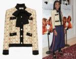 Kiki Layne's Gucci Rose Print Silk Marocain Jacket