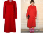 Kristin Scott Thomas' Valentino Scallop-Trimmed Coat