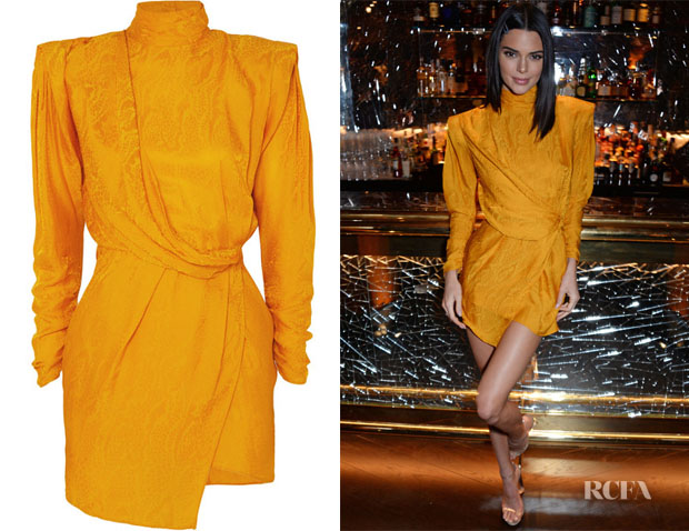 Kylie Jenner's Dundas Draped Open-Back Satin-Jacquard Mini Dress